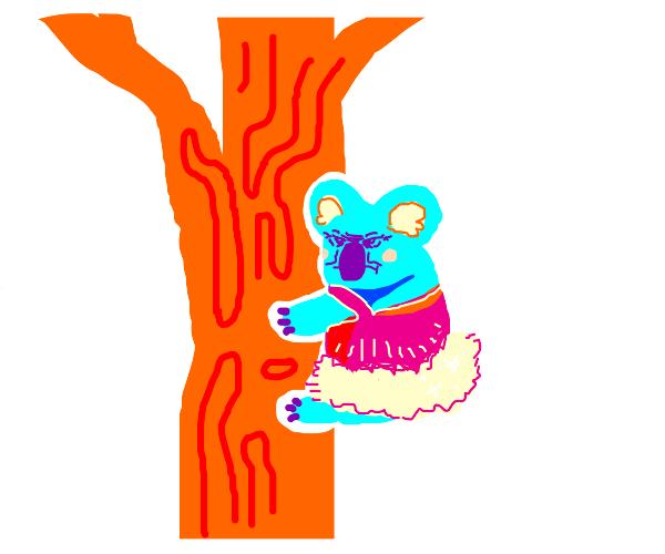 koala in a pink dress on a tree