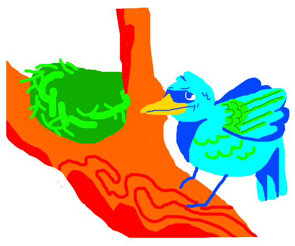 Bird is confused by green nest
