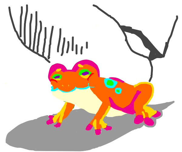 person steps on rainbow colored frog