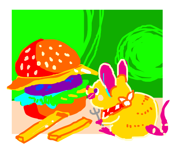 A mouse eating a burger and something else