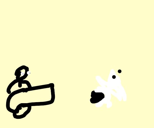 Noooo! My cannon hit a rabbit!