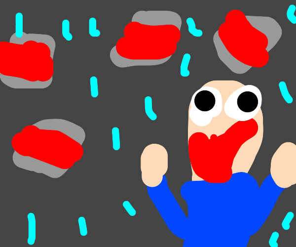 Person happy that its raining tin cans