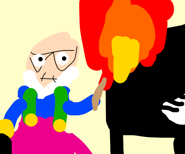 Old man in too too setting a piano on fire