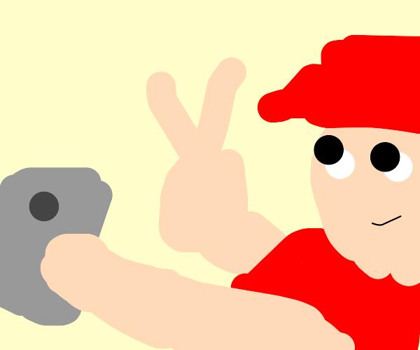 peace sign selfie