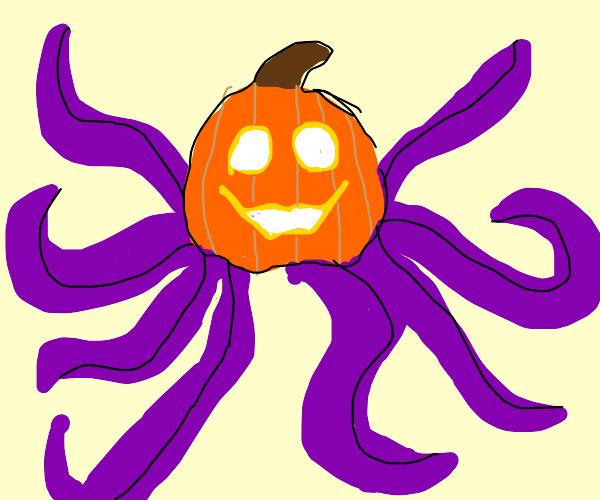 Purple octopus with pumpkin face