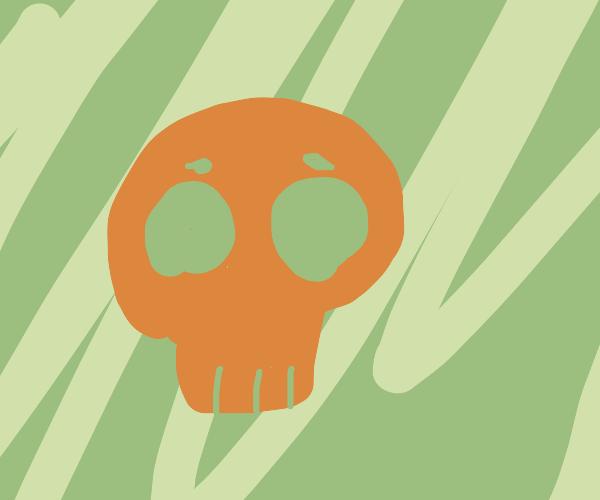 Red skull on green background