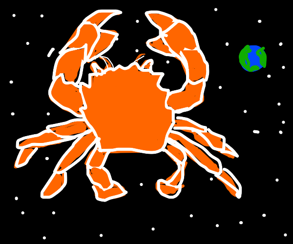 big crab in outer space
