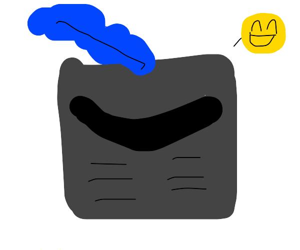 VERY happy rectangle knight