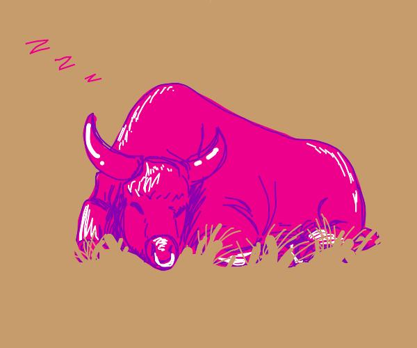 pink bull taking a nap