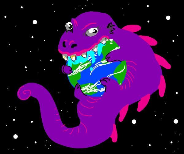 Purple monster eating earth