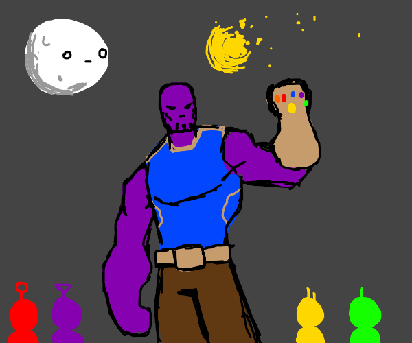 thanos snaps the baby sun from teletubbies
