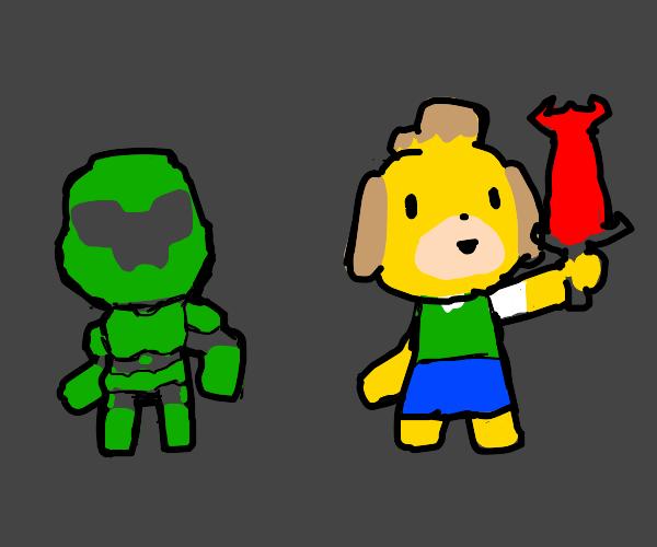 Isabelle (Animal Crossing) & DoomSlayer swap
