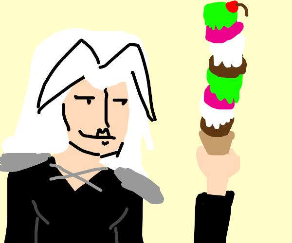 white haired anime guy eats tall icecream