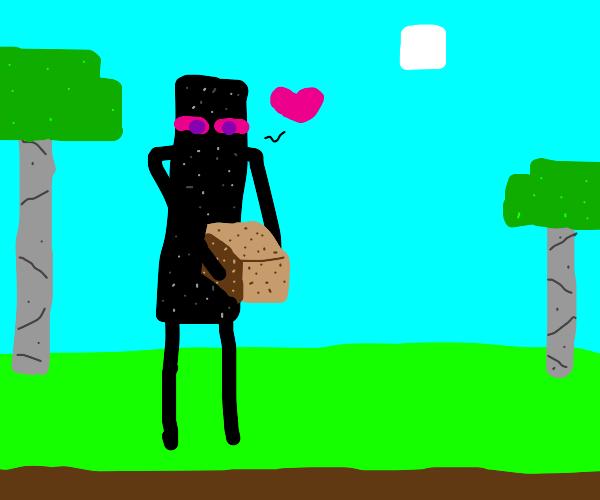 enderman falls in love with his dirt block