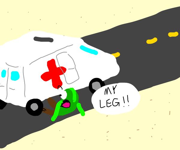 Run over by ambulance