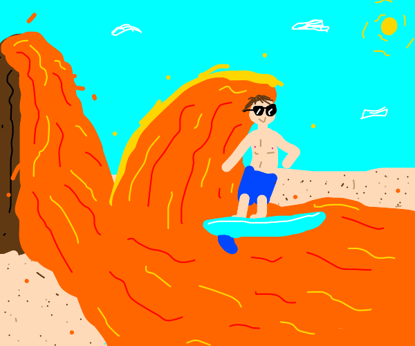 Person surfing on a lava wave