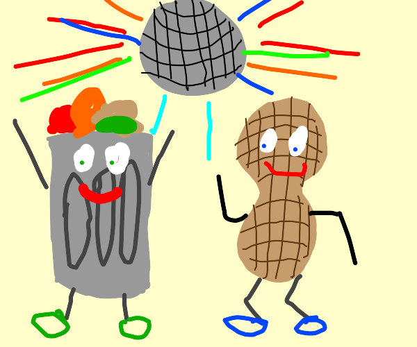 Trash and peanut at a dance party