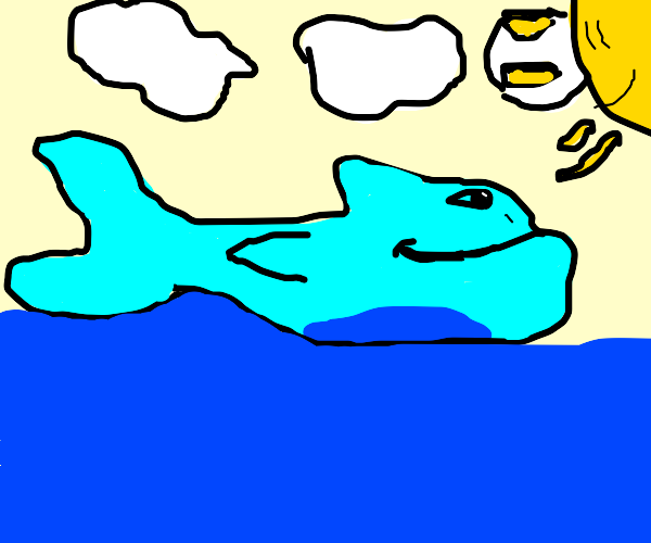 A happy blue whale under a sunny sky