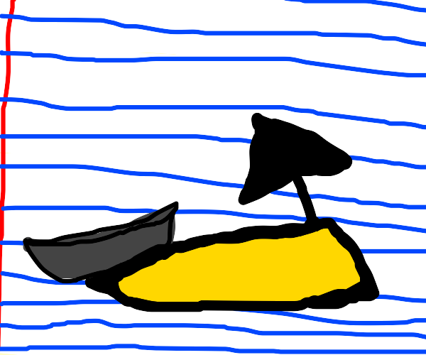 Halfway drawn beach with a boat