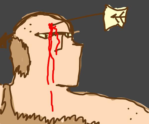 Big caveman with arrow on head