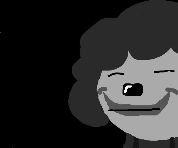 A black and white clown
