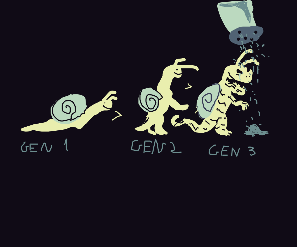 snail evolution, eventually get salted