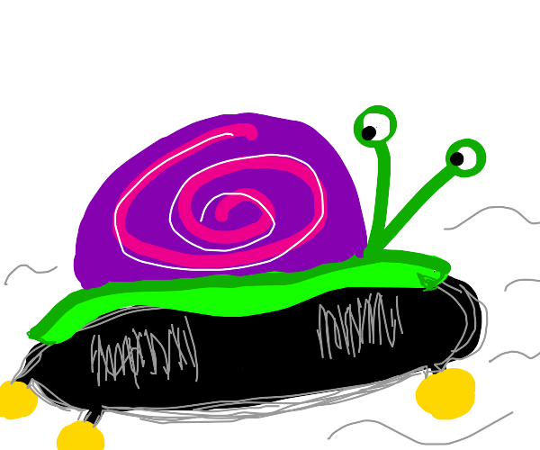 Snail on a skateboard straight up vibin