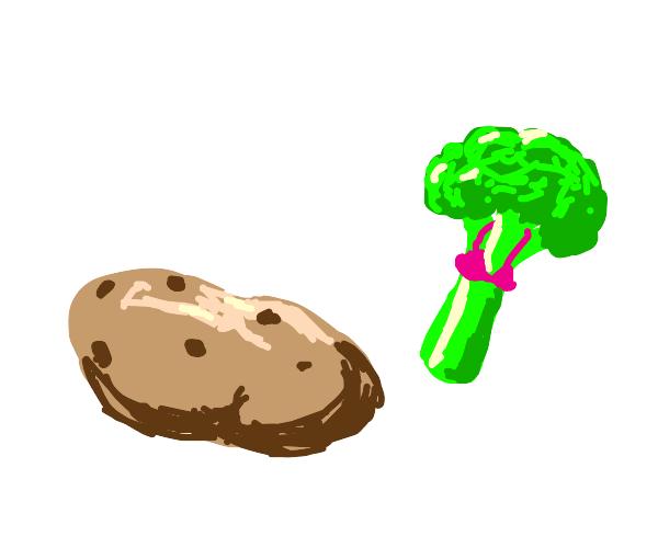 Potato with broccoli with bra