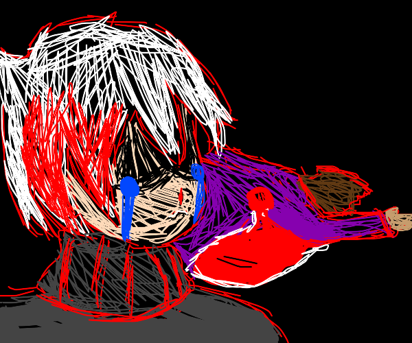 white haired boy with red is sad over bro die