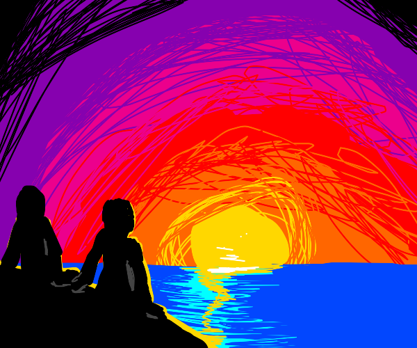 2 silhouettes holding hands near the sunset