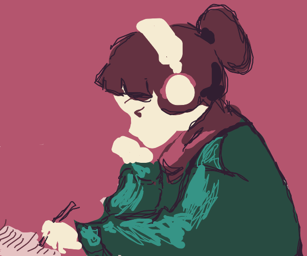 Studying and listening to lofi hip hop beats