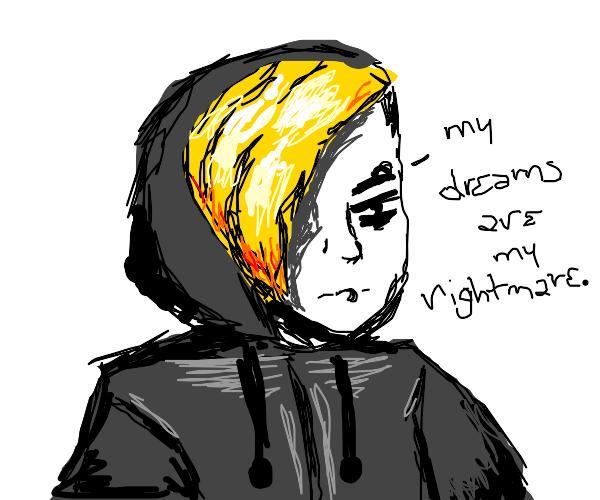 Edgy blonde kid in a hoodie.