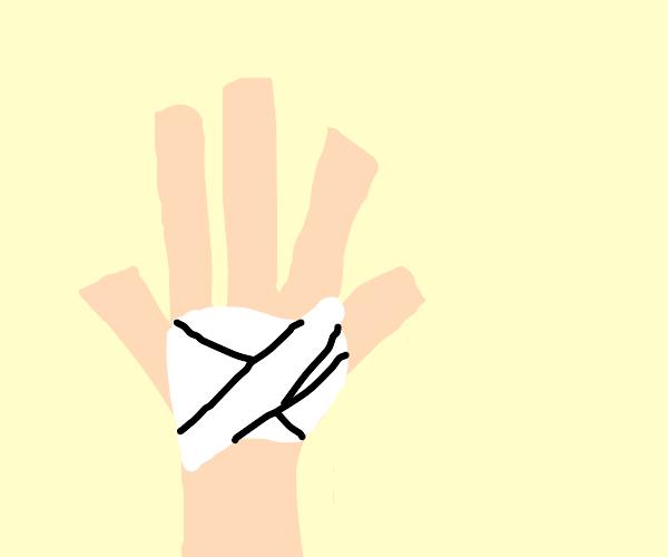 Bandaged palm