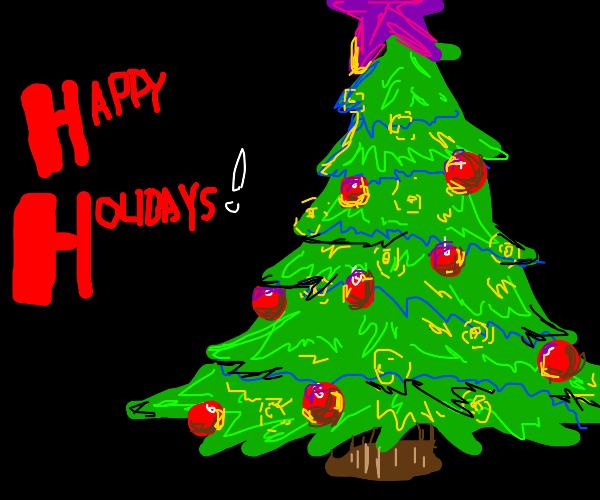 purple star upon christmas tree