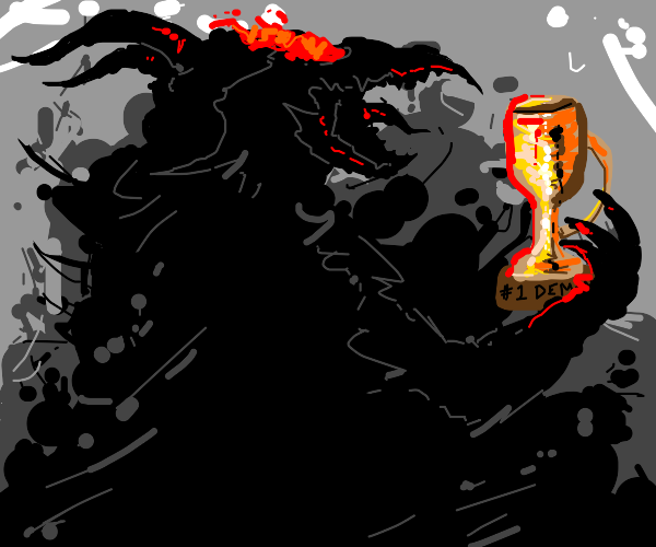 black demon with a trophy in the dark
