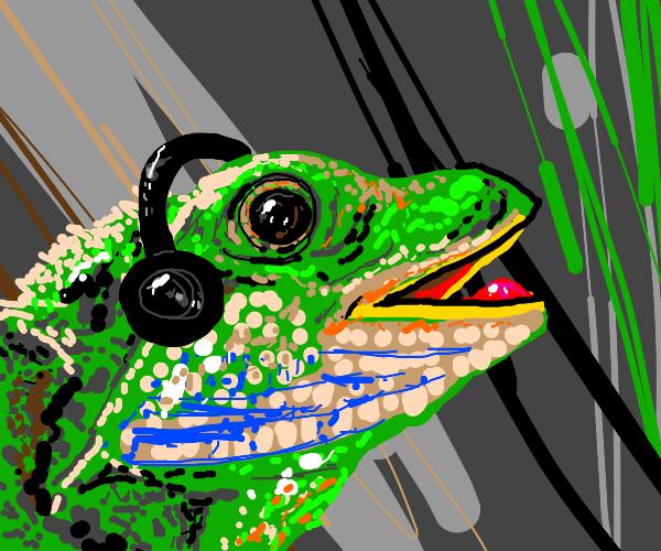 Lizard with headphones on just vibing