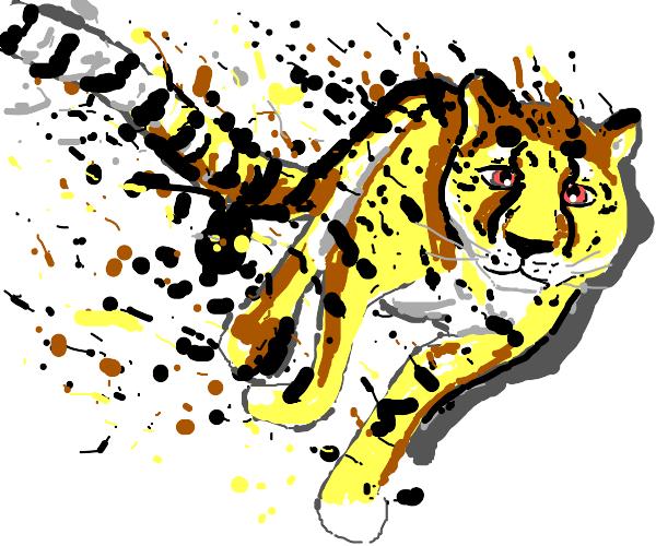 a cheetah dissolving