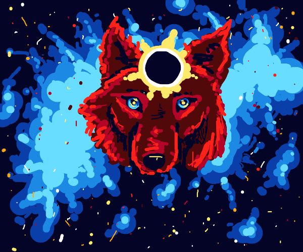 wolf's head in space