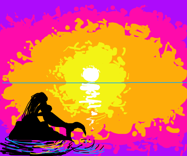 mermaid contemplating sunset