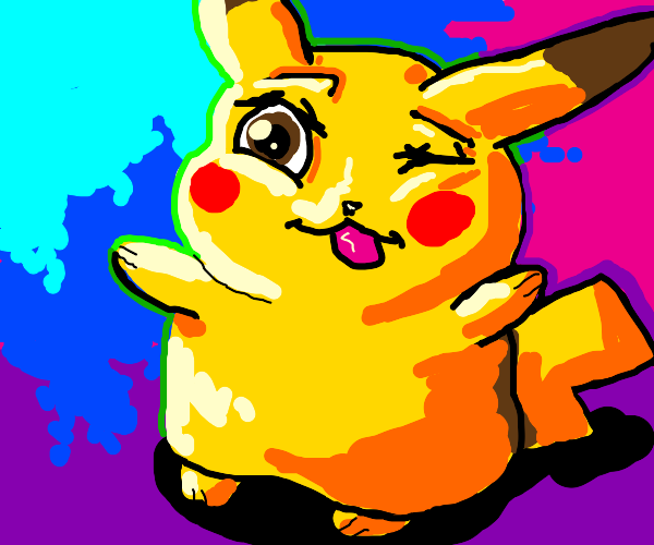 Cute Pikachu winks and sticks tongue out