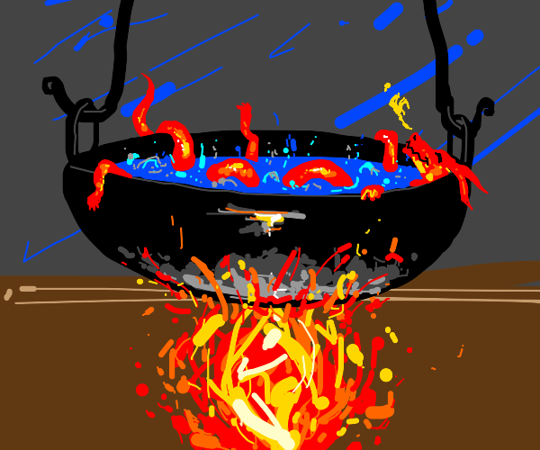 Dragon in a cooking pot