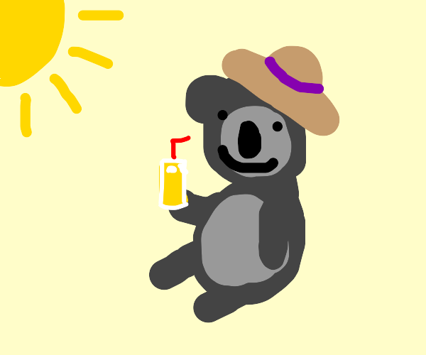 happy koala with summer hat