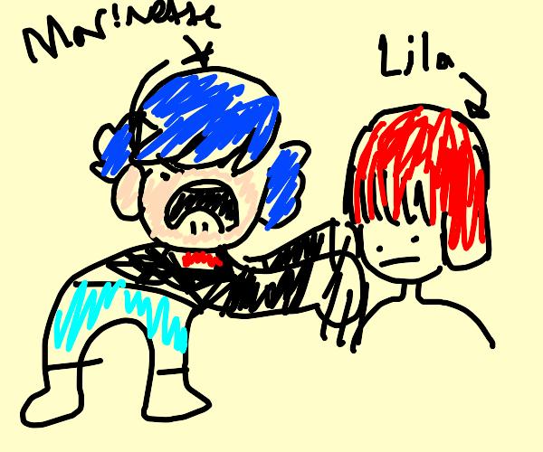 Marinette punching Lila