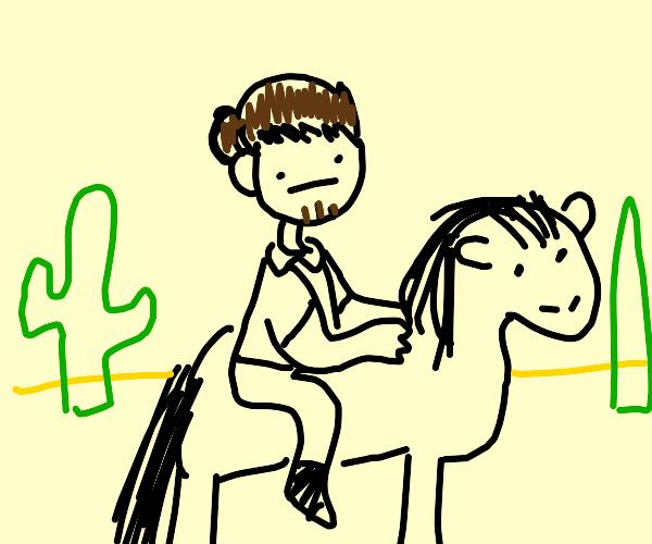 Riding through the desert on a horse