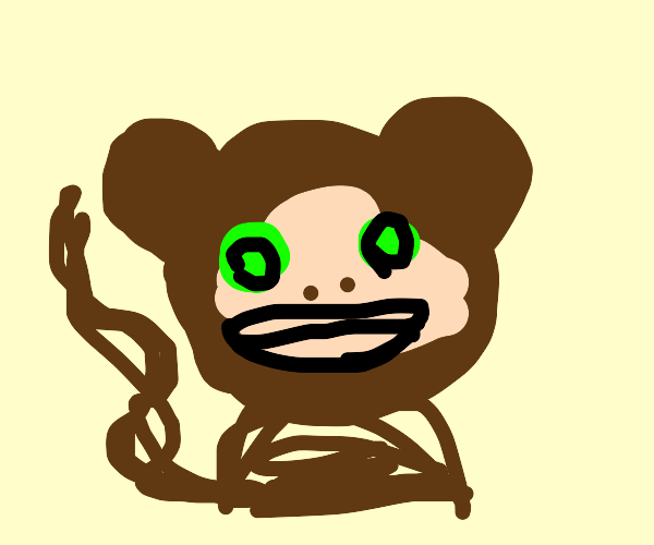 A weird looking monkey with green eyes