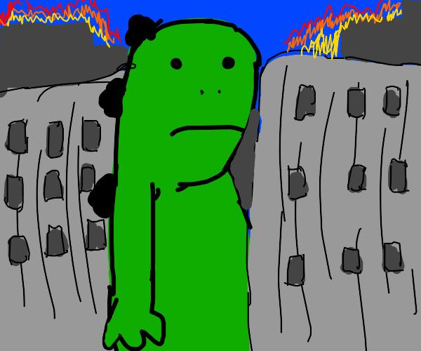 Godzilla rampaging through a burning city