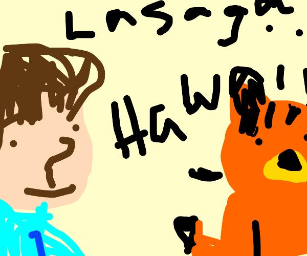 Garfield shows Jon he's ready for Hawaii.
