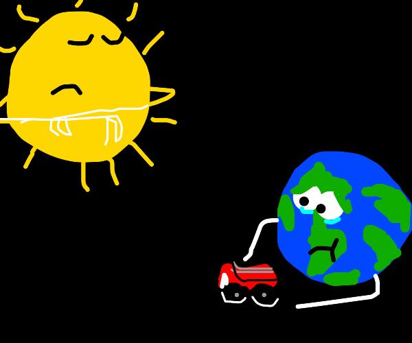 Sarcastic sun unfazed by Earth's toys