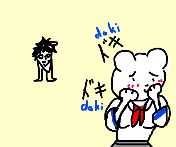 Kawaii School Girl Bear sees her Senpai