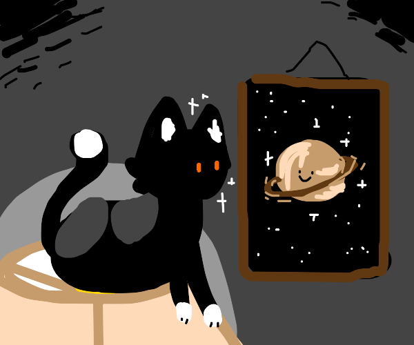Cat on a lamp admiring picture of saturn